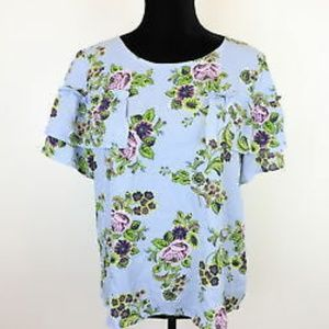 NWT Blue/Purple Floral Blouse. Small